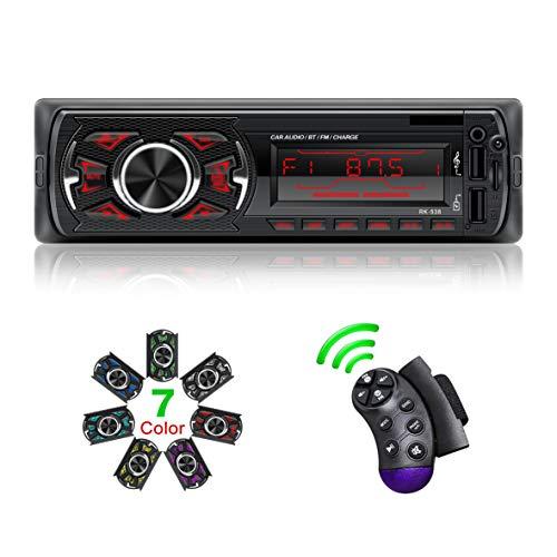 Autoradio mit Bluetooth Freisprecheinrichtung I Autoradio unterstützung Radio FM/BT/USB/TF/SD MP3 Player Lenkradfernbedienung, Schnellladung, mit 7 Beleuchtungsfarben