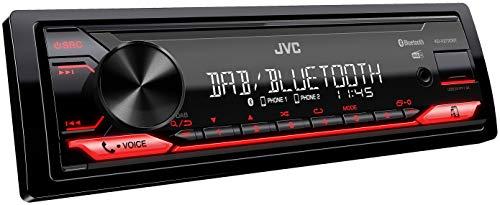 JVC KD-X272DBT USB-Autoradio mit DAB+ und Bluetooth Freisprecheinrichtung (Soundprozessor, USB, AUX-In, Spotify Control (Android), 4 x 50 Watt, rote Tastenbeleuchtung, DAB+ Antenne*)