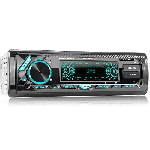 XOMAX XM-RD276 Autoradio mit DAB+ Tuner und Antenne I FM RDS I Bluetooth Freisprecheinrichtung I 2xUSB, SD, Aux I 7 Farben I 1 DIN