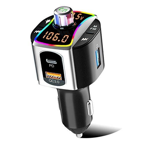 SONRU Bluetooth FM Transmitter, Bluetooth 5.0 Auto Radio Adapter mit PD3.0 & QC3.0 USB Ladegerät, Unterstützt Freisprecheinrichtung/U-Disk/TF Karte, Dual LED Anzeige, 7 Farbe LED Backlit