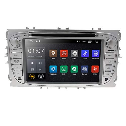 In Dash GPS DVD Player fit Mondeo S-max Focus Galaxy C-max HIZPO Android 8.1 Car Radio Double Din Stereo 7 inch Touchscreen Support Mirror Link 4G WIFI USB SD CAM-IN OBD2 DAB+ DVR Silver Color