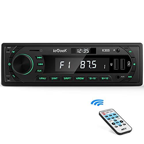 ieGeek Autoradio Bluetooth 5.0,RDS/FM/AM / 7 Farben Autoradio mit Bluetooth Freisprecheinrichtung,2 USB/MP3/AUX-IN/SD,30 Sender Gespeichert Werden