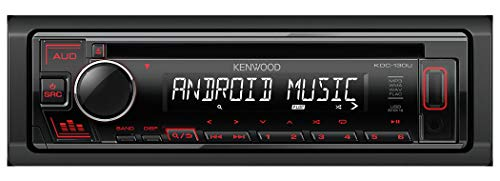 Kenwood KDC-130UR CD-Autoradio mit RDS (Hochleistungstuner, USB, AUX-Eingang, Android Control, Bass Boost, 4x50 Watt, Rot) Schwarz