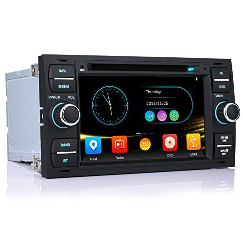 iFrego 7' HD Autoradio DVD Player GPS Navigation RDS SD Bluetooth Touchscreen mit sat NAV GPS Navigation für Ford C-Max/Galaxy/Connect/Kuga/Fiesta/S-Max/Focus/Transit/Fusion/Mondeo