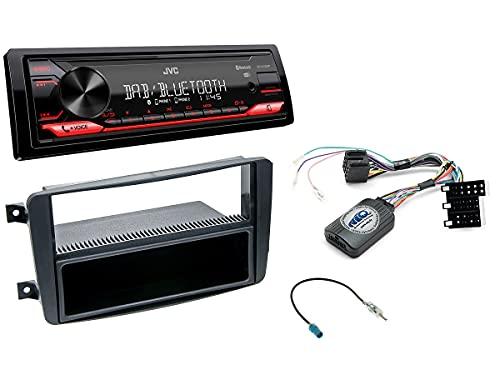 NIQ Autoradio Einbauset geeignet für Mercedes C-Klasse inkl. JVC KD-X272DBT (DAB+), Lenkrad Fernbedienung Adapter & Blende in Schwarz