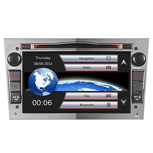 7' DVD Autoradio MIT 16GB-SD DAB+ 3G+ Virtueller-CD-Wechsler(VMCD) Mirrorlink GPS Navigation USB Bluetooth CD Dual-Zone Subwoofer FM RDS SWC für OPEL Zafira B Astra H Corsa C D Meriva Vivaro (Grau)