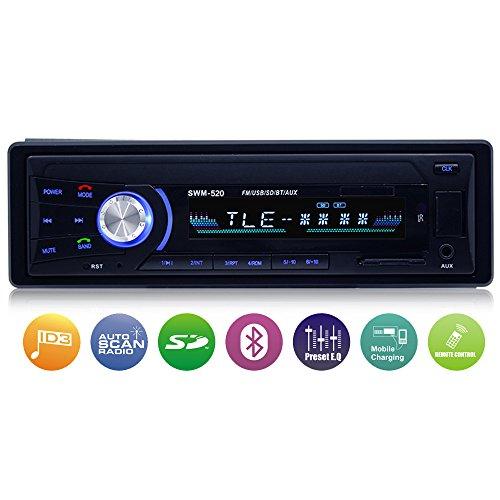 Autoradio mit Bluetooth Freisprecheinrichtung, Single-Din-Universal-Autoradio, AM/FM/USB/TF MP3-Media-Player, drahtlose Fernbedienung enthalten