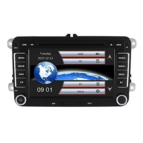 Yingly 7 Zoll 2 Din Autoradio für VW Golf Skoda Seat mit Wince System DVD Player GPS Navigation Radio Bluetooth USB Unterstützt Park Kamera Lenkrad Bedienung 1080P Video 8GB Kartenmaterial