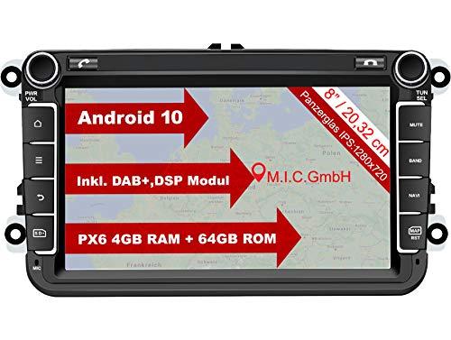 M.I.C. AV8V6 Android 10 Autoradio mit navi Ersatz für VW Golf t5 touran Passat RNS RCD Skoda SEAT: DAB Plus Bluetooth 5.0 WiFi 2din 8' IPS Panzerglas Bildschirm 4G+64G USB Auto zubehör europakarte