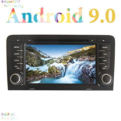 XISEDO Android 9.0 Autoradio 7' Car Radio 8-Core RAM 4G ROM 32G Autonavigation In-Dash Car Radio mit DVD Player Moniceiver für Audi A3 2003-2011 (Autoradio)