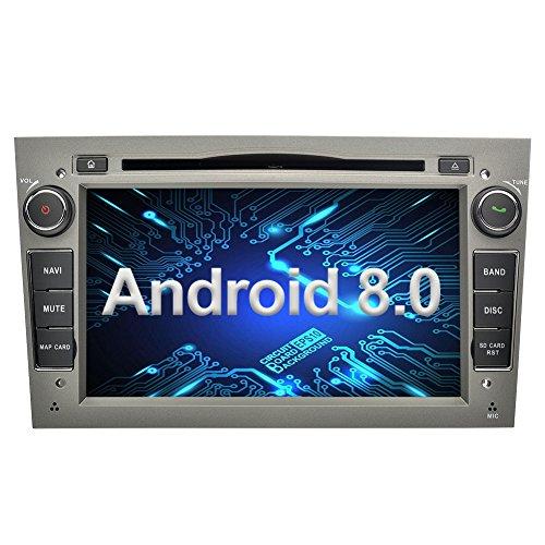 Ohok 7 Zoll Bildschirm 2 Din Autoradio Android 8.0.0 Oreo Octa Core Radio mit Navi Moniceiver DVD GPS Navigation Unterstützt Bluetooth WLAN DAB+ OBD2 für OPEL Grau