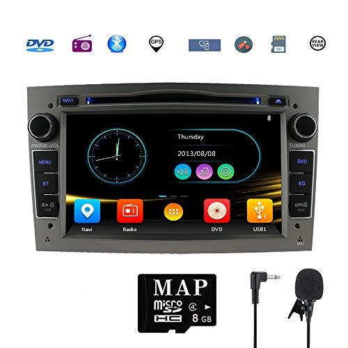 Stereo-Heim-Kfz-Satellit Navigator für Opel Doppel-Din Headunit 17,8 cm (7 Zoll) 2 DIN Autoradio mit DVD CD Player unterstützt GPS USB SD FM AM RDS Bluetooth SWC (Grau)