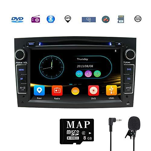 Stereo-Heim-Kfz-Satellit Navigator für Opel Doppel-Din Headunit 17,8 cm (7 Zoll) 2 DIN Autoradio mit DVD CD Player unterstützt GPS USB SD FM AM RDS Bluetooth SWC(Schwarz)