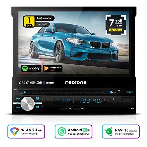 NEOTONE NDX-150A | universelles 1DIN Autoradio mit Android 10.0 Q | Navitel Navigation mit Europakarten 2020 + Lifetime Update | DAB+ | DVD | 7 Zoll | 16GB inkl | WLAN | Bluetooth | OBD 2 | USB