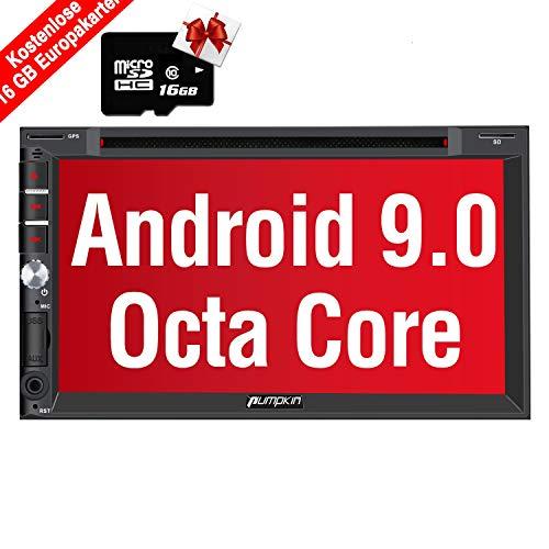 PUMPKIN Android 9.0 Autoradio Moniceiver mit Navi 16GB Europakarten 2019 Unterstützt Bluetooth DAB+ CD DVD Android Auto WiFi 4G USB MicroSD 2 Din 7 Zoll Bildschirm Universal