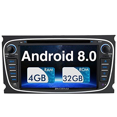 Pumpkin Android 8.0 Autoradio Radio für Ford Focus Mondeo mit Navi Unterstützt Bluetooth DAB + USB CD DVD WLAN 4G Android Auto MicroSD 2 Din 7 Zoll Bildschirm Schwarz