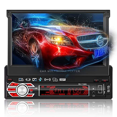 Autoradio Bluetooth GPS, FPVRC 7 Zoll 1 Din Autoradio Mit 1080P HD Automatisch Ausfahrbarer Touchscreen, FM/AM/BT/SD/USB/MP5/Lenkradsteuerung/Freisprechen, mit Rückfahrkamera/GPS-Antenne/8G TF Karte