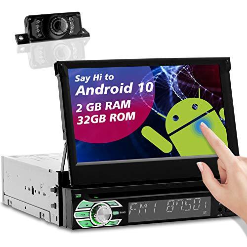 1din Radio Navigation Autoradio Bluetooth Auto Radio DVD Player Android 10.0 1 Din Moniceiver mit Rückfahrkamera und 7 Zoll Bildschirm Unterstützt FM/AM,SWC,WiFi,GPS Sat Navi,Mirrorlink,USB,SD,TF