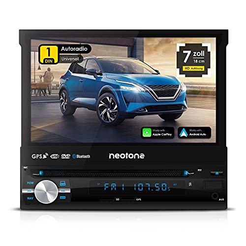NEOTONE NDX-150A | universelles 1DIN Autoradio mit Android 10.0 Q | Navitel Navigation mit Europakarten 2021 + Lifetime Update | DAB+ | DVD | 7 Zoll | 16GB inkl | WLAN | Bluetooth | OBD 2 | USB
