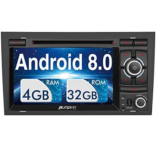 PUMPKIN Android 8.0 Autoradio Radio für Audi A4 mit Navi Unterstützt Bluetooth DAB + USB CD DVD Android Auto WiFi 4G MicroSD 2 Din 7 Zoll Bildschirm