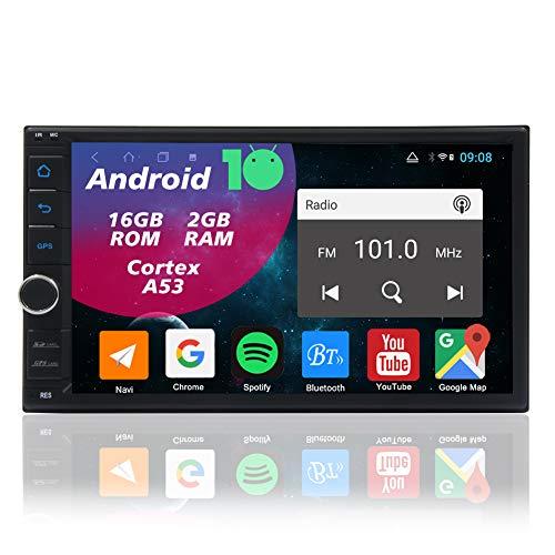 2din Autoradio Android 10.0 Doppel Din Radio Auto Bluetooth Moniceiver 7 Zoll Bildschirm GPS Sat Navigationsgeräte Video Audio Player Unterstützt FM/AM RDS WiFi Mirrorlink USB AUX Lenkradsteuerung
